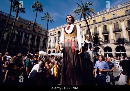Gegantes 5m Giants Parade at Placa Reial Festa de la Merce Barcelona Catalonia Spain