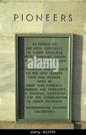 Commemorative plaque to the early explorers and pioneers of South Australia, Glenelg, Adelaide - Stock Photo