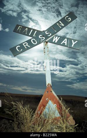 A disused railway level crossing near Burra in South Australia's mid North - Stock Photo