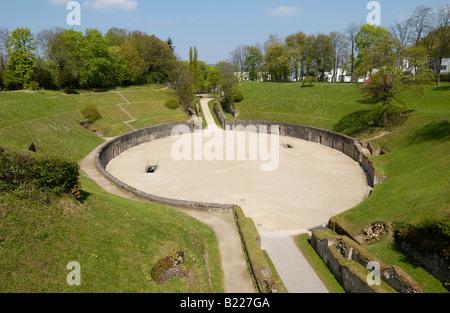 ruin of roman amphitheater, Trier, Germany, Europe - Stock Photo