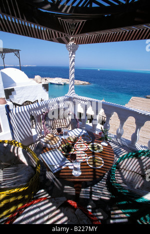 Table with several Egyptian starters restaurant Felfella Hurghada Eqypt - Stock Photo