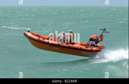 The RNLI inshore lifeboat named Blue Peter 1 in action off Worthing seafront July 2008 - Stock Photo
