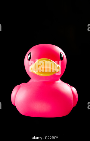 Pink plastic bath duck on black background - Stock Photo