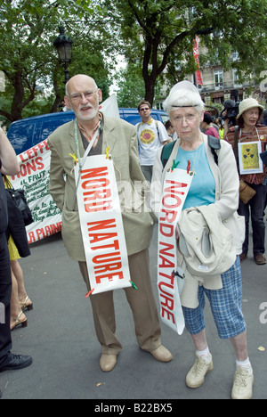 Paris FRANCE, Anti Nuclear Power Demonstration by Several Environmental NGO's Portrait, Senior Couple Posing With - Stock Photo