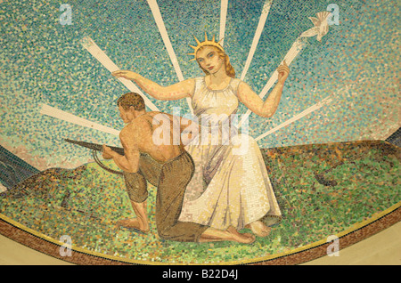 Mosaic war scene on The Chapel ceiling, American Cemetery, Normandy, France - Stock Photo