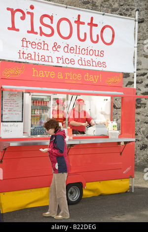 Fresh & Delicious Risotto vegetarian take-away food. Portsoy  Scottish Traditional Boat Festival, Mobile catering - Stock Photo