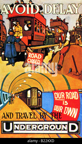 Edwardian design on a London Underground Poster of 1910 Avoid Delay Our Road is Our Own  FOR EDITORIAL USE ONLY - Stock Photo