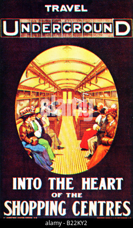 Edwardian design on a London Underground Poster of 1908 Into the Heart of the Shopping Centres FOR EDITORIAL USE - Stock Photo