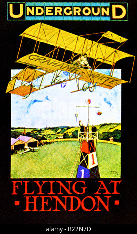 Edwardian design on a London Underground Poster of 1910 Flying at Hendon FOR EDITORIAL USE ONLY - Stock Photo