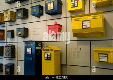 Old post boxes displayed in Museum fur Kommunikation Communication museum Mitte quarter Berlin Germany - Stock Photo