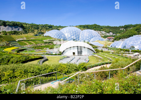 The Eden Project and The Arenaon a summers day. Cornwall. - Stock Photo