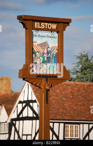 Elstow village sign, Village Green, Elstow, Bedfordshire, England, United Kingdom - Stock Photo
