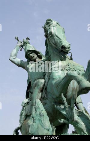 Statue outside National Theatre Zagreb - Stock Photo