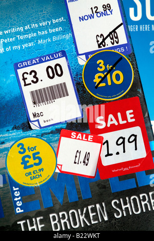 Book sale stickers advertising reduction in cost - Stock Photo