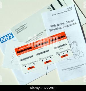 NHS bowel cancer screening programme kit - Stock Photo