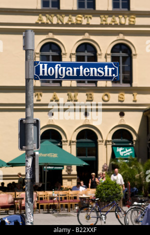 A sign for Hofgartenstrasse in Munich, Germany. The popular Tambosi cafe stands behind the sign. - Stock Photo