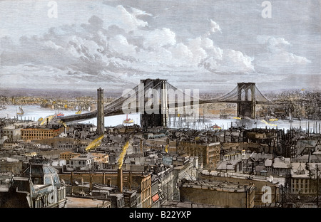 The new Brooklyn Bridge over the East River New York City 1883. Hand-colored woodcut - Stock Photo