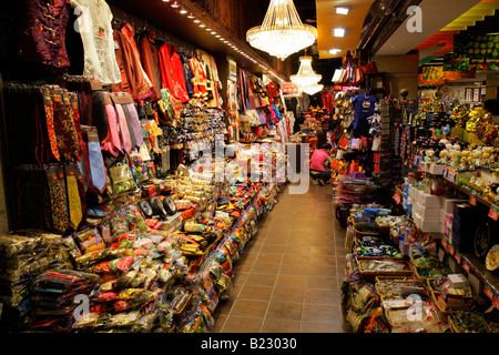 Crowded stall, Stanley market, Hong Kong Island, China Stock Photo