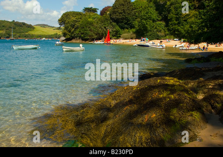 A view looking North up the Salcombe estuary, taking in the beach at East Portlemouth with rocks and boats visible. - Stock Photo