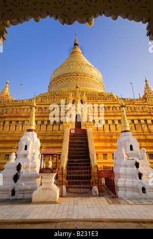 Low angle view of pagoda, Shwezigon Pagoda, Nyaung-U, Bagan, Myanmar - Stock Photo