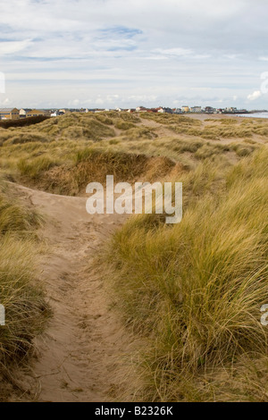 Sand dunes on the Seaton Carew beach in Hartlepool, in the North of England. - Stock Photo