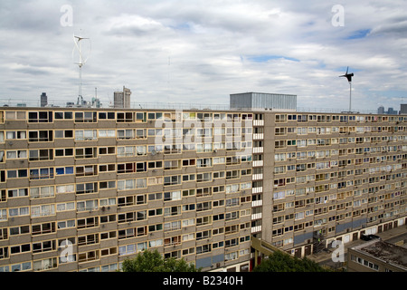 Vertical Axis Wind Turbines on top of a Council Estate in South London England Britain UK - Stock Photo