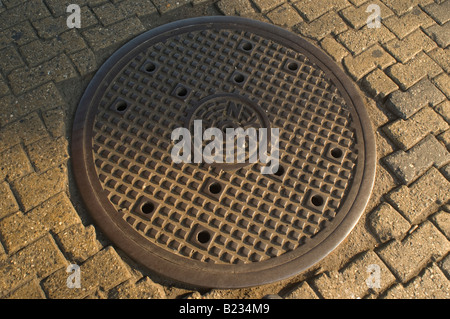 Close up of manhole cover on street - Stock Photo