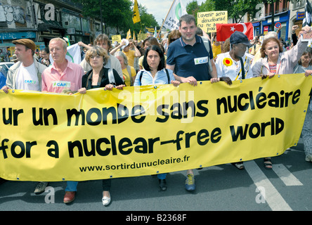 Paris FRANCE, Anti Nuclear Power Demonstration by  Environmental Activists, international NGO Crowd Holding Banner - Stock Photo