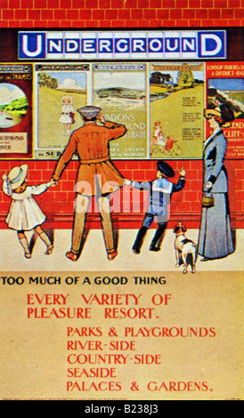 Edwardian design on a London Underground Poster of 1910 Every Variety of Pleasure Resort FOR EDITORIAL USE ONLY - Stock Photo