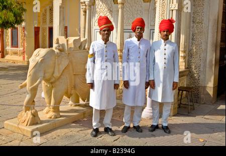 Guards City Palace Jaipur Rajasthan India - Stock Photo