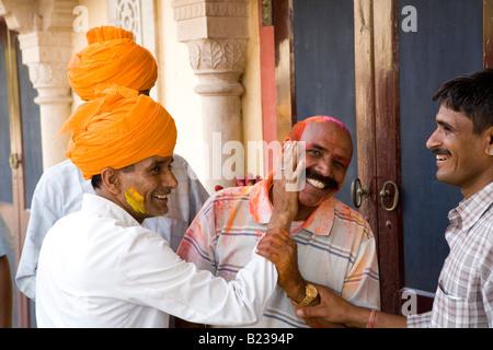 Guards Holi Festival City Palace Jaipur Rajasthan India - Stock Photo