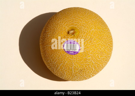 Galia melon with ripe and ready to eat sticker