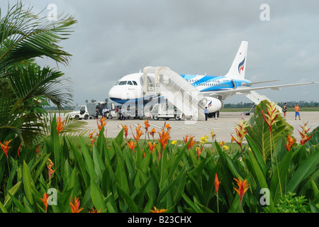 Airplane at airport Siem Reap Cambodia - Stock Photo