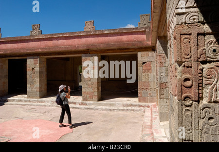 Tourist taking picture at archaeological site, Quetzalcoatl, Teotihuacan, Mexico - Stock Photo