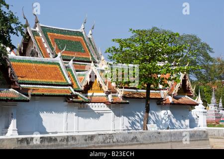 Traditional Thai Buddhist temple Wat Yai Suwannaram, Phetchaburi, Thailand - Stock Photo