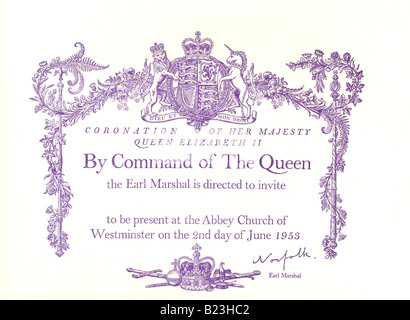 Invitation to the Coronation of Her Majesty Queen Elizabeth II 1953 - Stock Photo