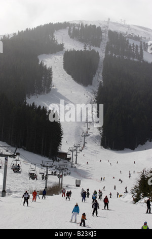 A view over ski piste in Bansko, Pirin mountains, Bulgaria - Stock Photo