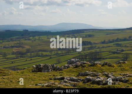 View towards Pendle Hill from the top of Malham Cove - Stock Photo