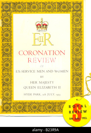 Programme and badge for the Coronation Review for Queen Elizabeth II - Stock Photo