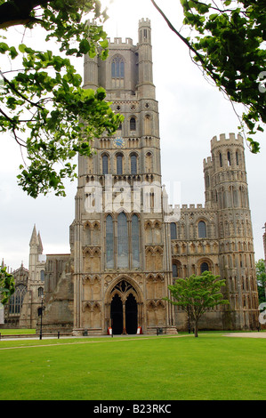 Ely Cathedral Tower and West front in Cambridge England UK - Stock Photo