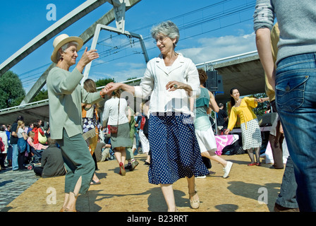 Paris, France, Public Events 'National Day' 'Bastille Day' '14th of July' Women Dancing at Ball, Authentic French - Stock Photo