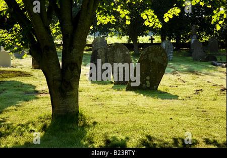 Old gravestones in Holy Cross churchyard, Ashton Keynes, Wiltshire, England, UK - Stock Photo