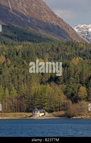 Looking across Loch Leven to Glencoe from North Ballachulish Highland Region Scotland April 2008 - Stock Photo