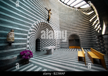 Interior of the Church of St John The Baptist Mogno, Fusio, municipality of Lavizzara, Val Maggiore,Ticino, Switzerland - Stock Photo