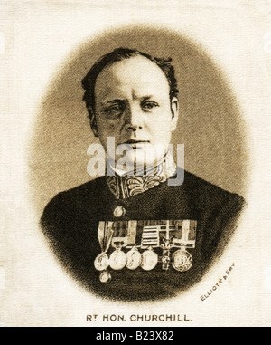 A 1915  George V  Silk Print of  Winston Leonard Spencer Churchill, FOR EDITORIAL USE ONLY - Stock Photo