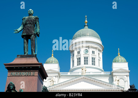 Statue of Emperor Alexander II in front of Helsinki Cathedral, Senate Square, Helsinki, Finland - Stock Photo