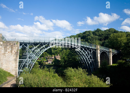 Ironbridge Bridge over River Severn in late evening summer light Shropshire England United Kingdom GB Great Britain - Stock Photo