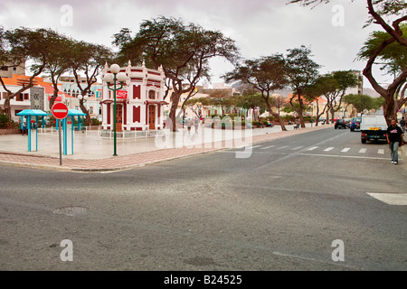 The main square in Mindelo on Sao Vicente in the Cape Verde Islands - Stock Photo