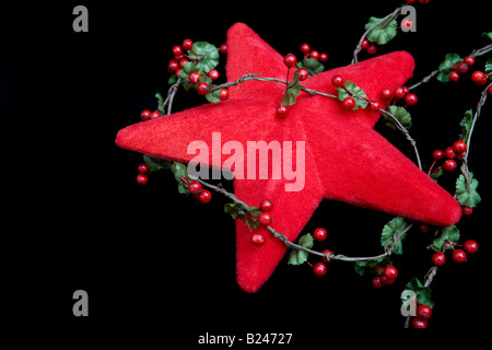 A star and holly christmas decoration - Stock Photo
