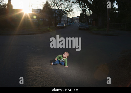 Baby in the road - Stock Photo